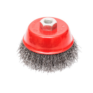 Circular cup brush, steel wire ø100mm, for angle grinder