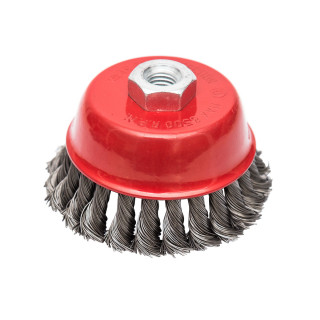 Circular cup brush, steel twisted wire ø100mm, for angle grinder
