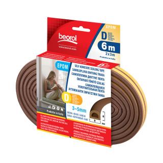 Seal strip D-profile, brown 6m