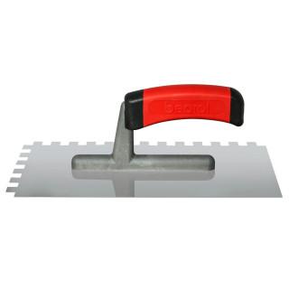 Plastering trowel, stainless steel, rubber handle 10x10mm