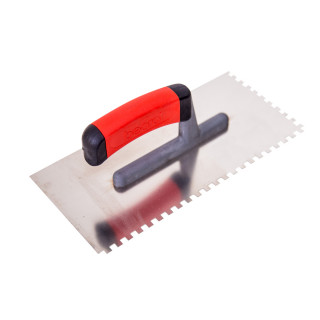 Plastering trowel, stainless steel, rubber handle 6x6mm