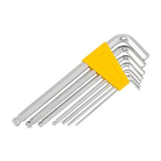 Inbus ball point hex keys, chromeplated, set 7pcs