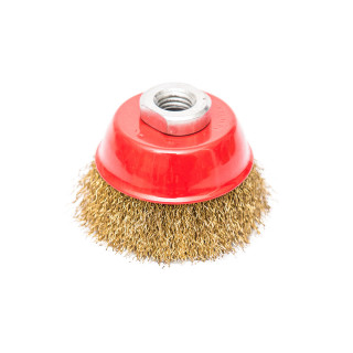 Circular brass coated cup wire brush for angle grinder, ø65mm