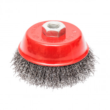 Circular cup brush, steel wire ø125mm, for angle grinder