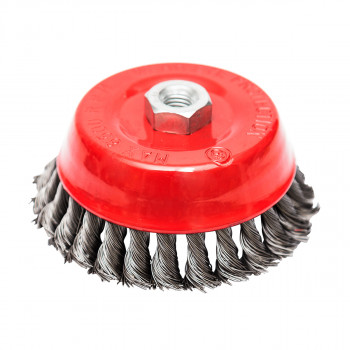 Circular cup brush, steel twisted wire ø125mm, for angle grinder
