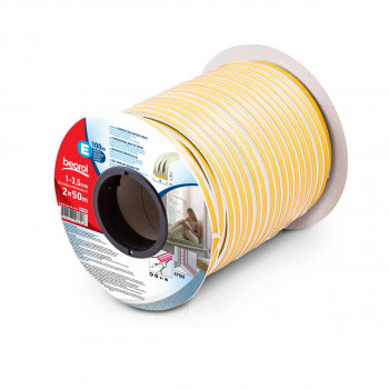 Seal strip E-profile, white 2x50m