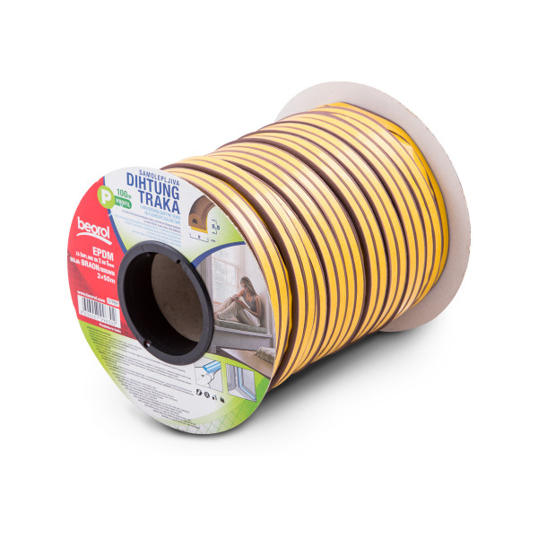 Seal strip P-profile, brown 2x50m