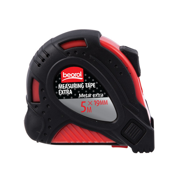 Steel measuring tape 16ft/5m,red body/black cover