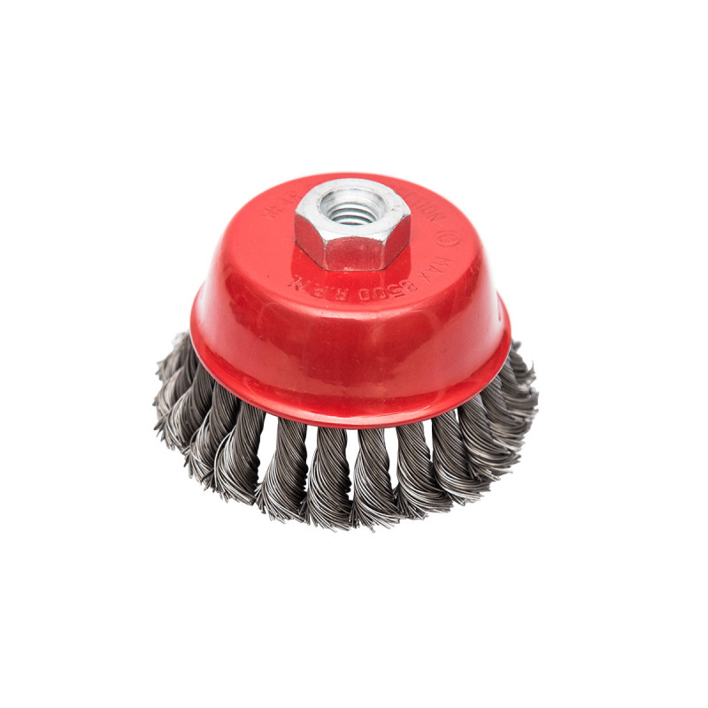 Circular cup brush, steel twisted wire ø65mm, for angle grinder