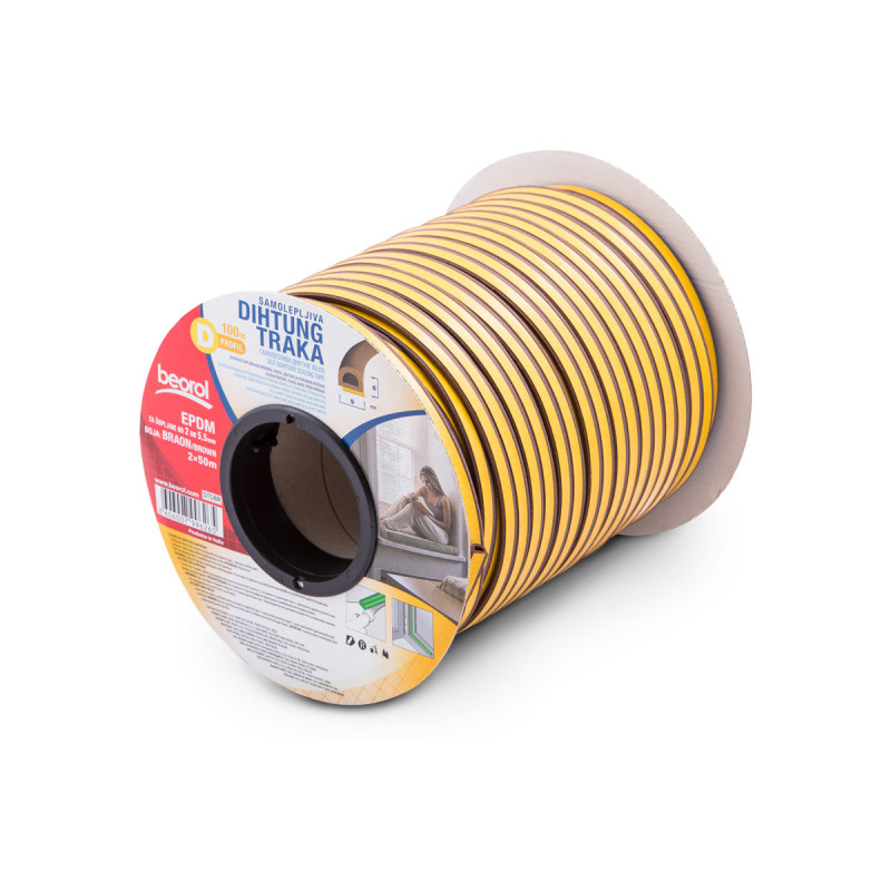 Seal strip D-profile, brown 2x50m