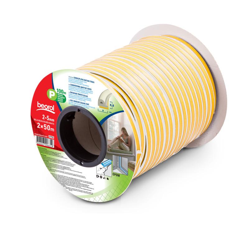 Seal strip P-profile, white 2x50m