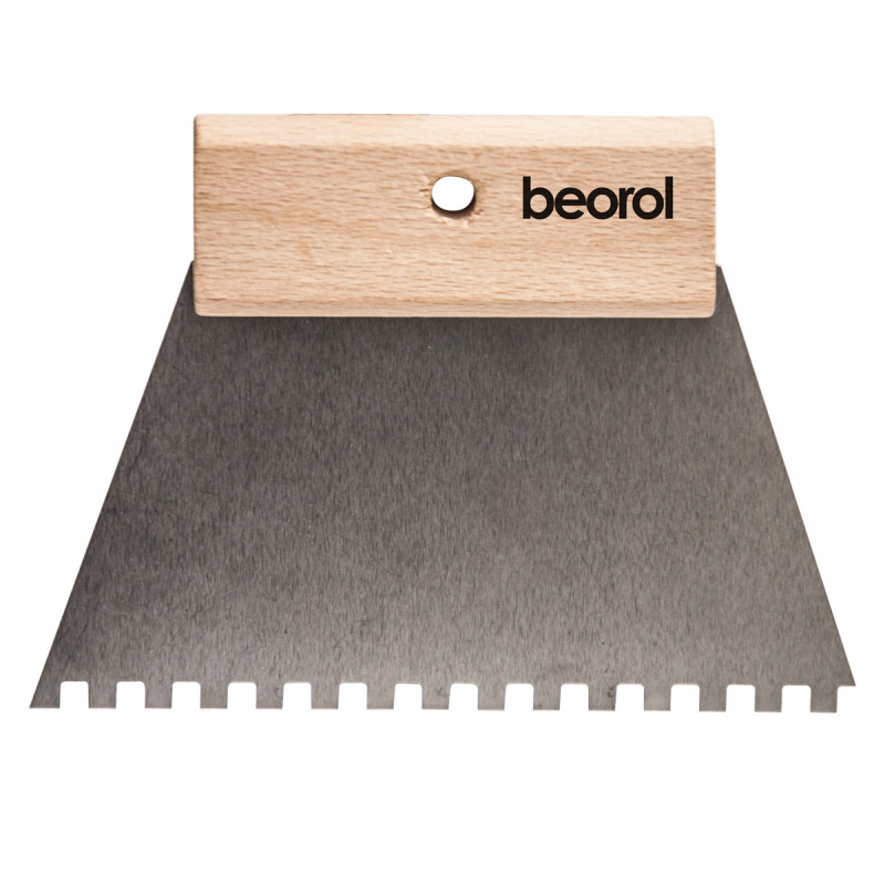 Scraper short wooden handle 180mm with teeth