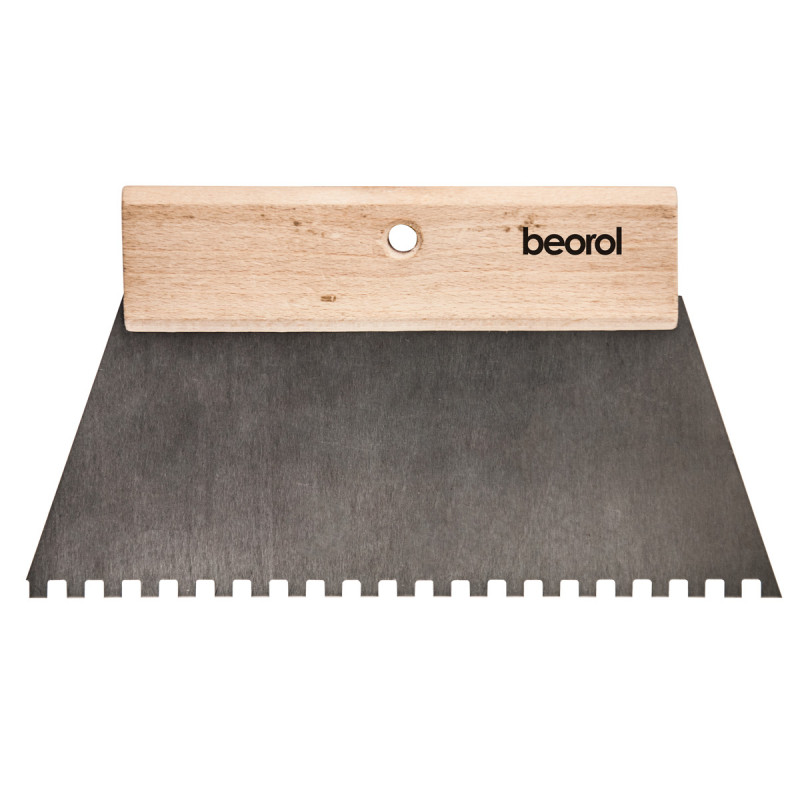 Scraper short wooden handle 250mm with teeth