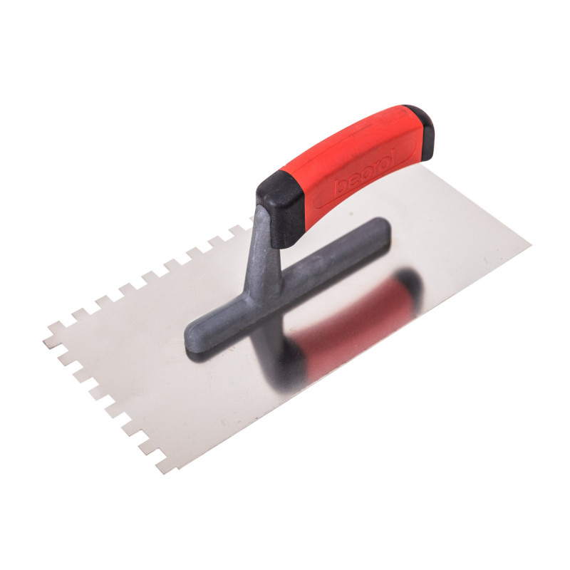 Plastering trowel, stainless steel, rubber handle 8x8mm