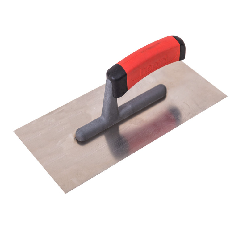 Plastering trowel, stainless steel, rubber handle