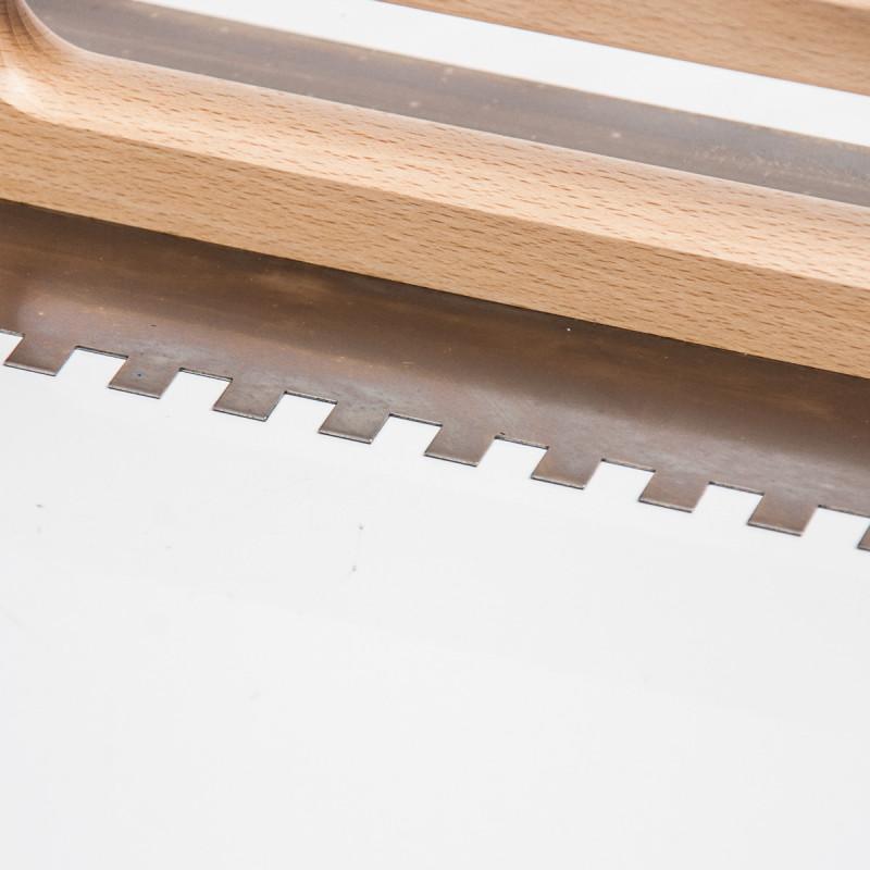 Plastering trowel, 480x130mm, wooden handle, stainless steel 10x10mm