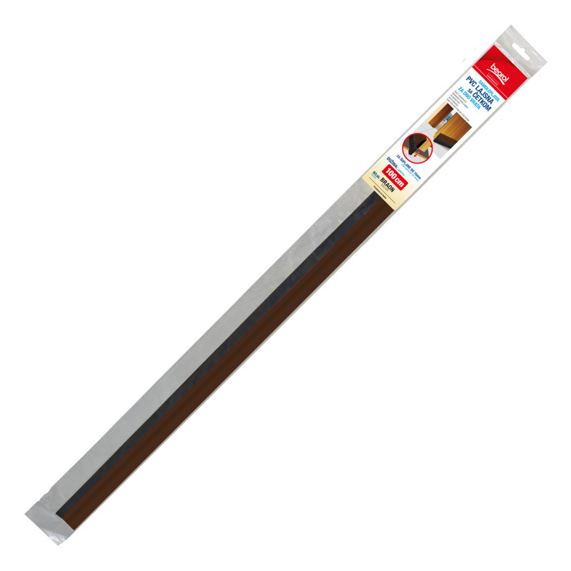 Adhesive PVC draught-exwith brush for the 1m brown