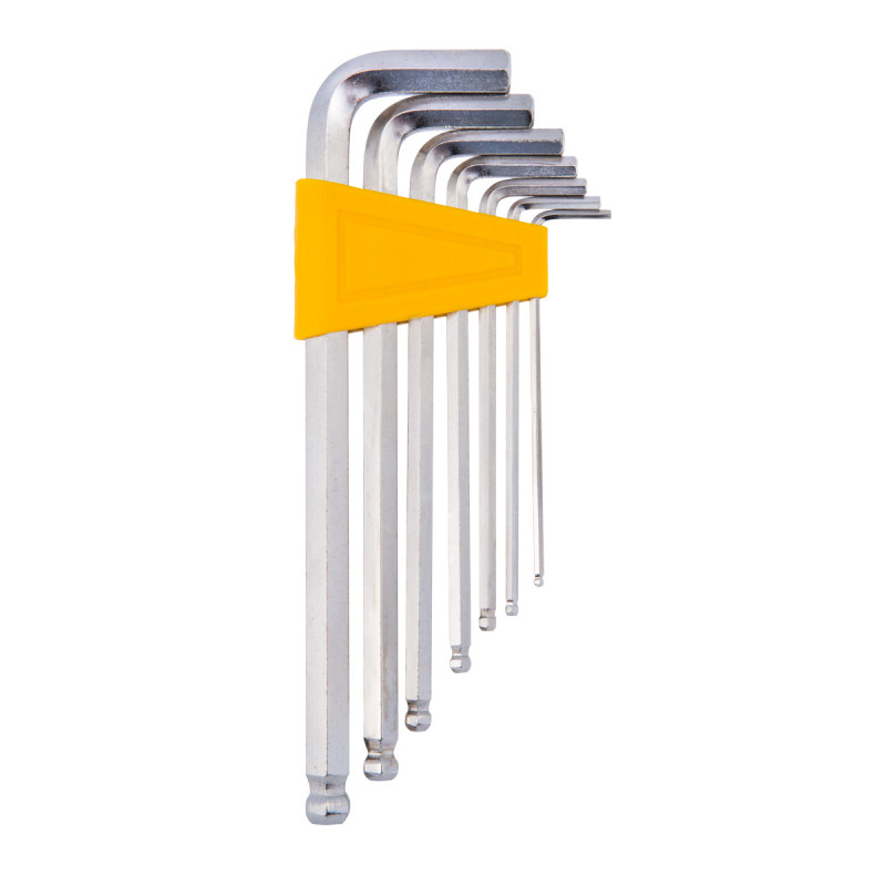 Inbus ball point hex keys, chromeplated, set 7pcs