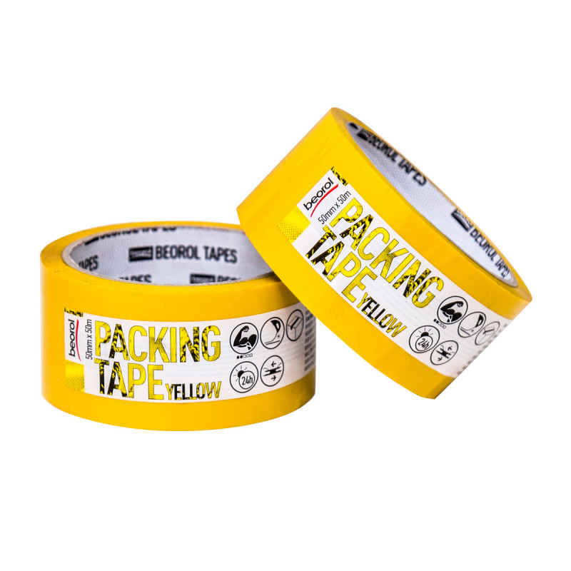 Packing tape, 50mm x 50m, yellow