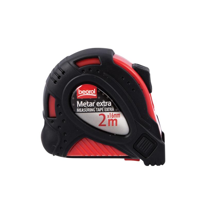 Steel measuring tape 6.5ft/2m,red body/black cover