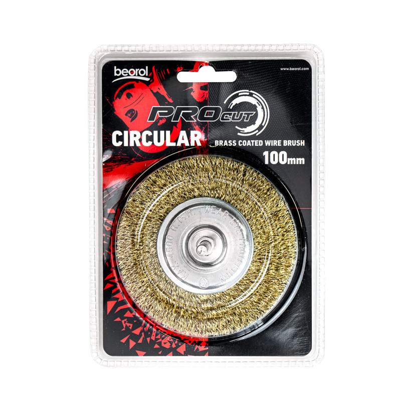 Circular brass coated wire brush for drill, ø100mm