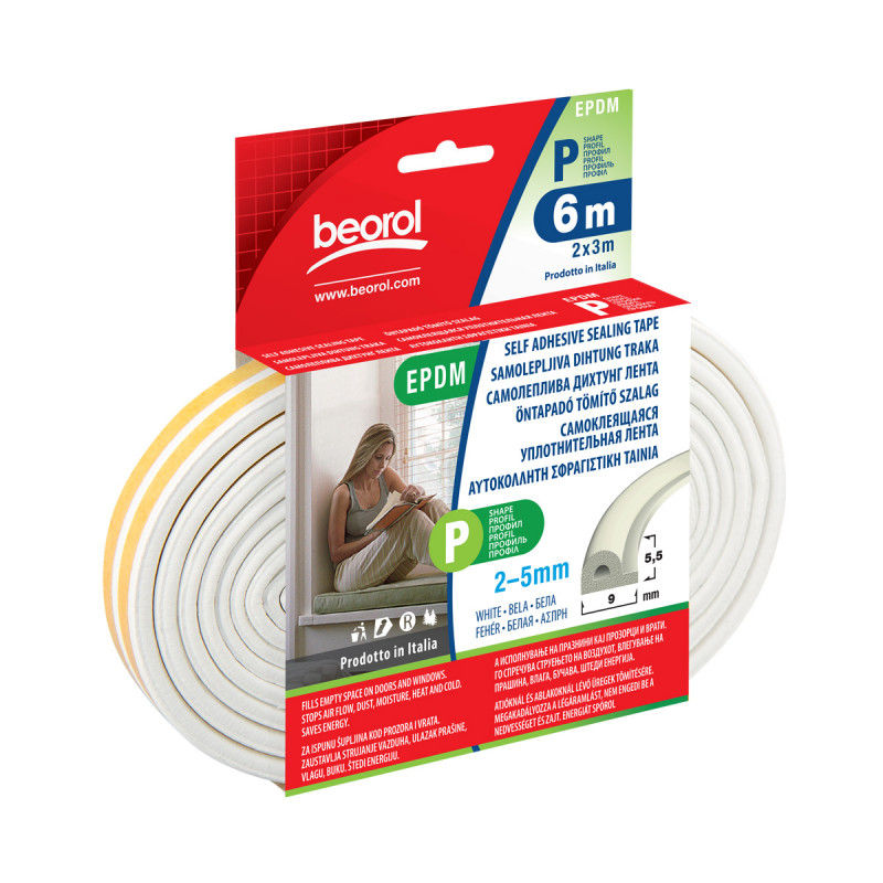 Seal strip P-profile-white 6m
