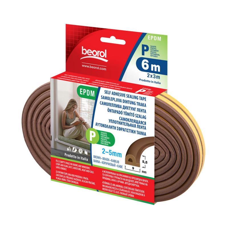 Seal strip P-profile-brown 6m