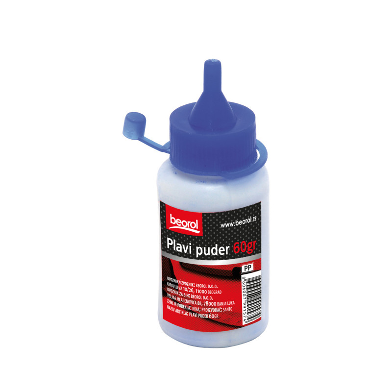 Chalk powder bottle for chalk line reel-blue 60gr