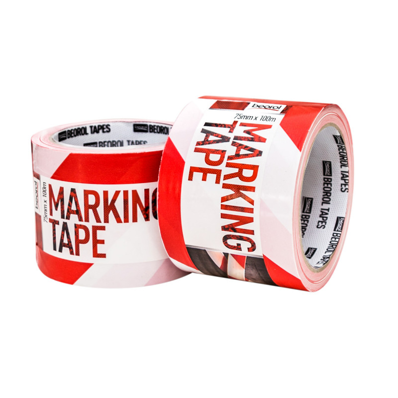 Warning-separating tape red/white 75mm x 100m